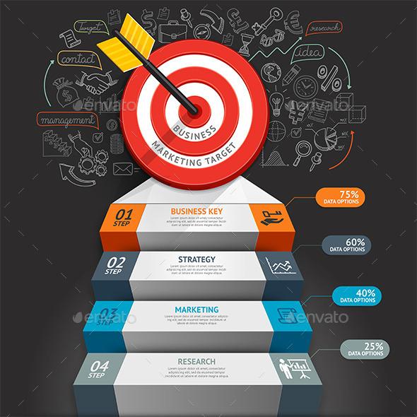 Business Staircase Conceptual Infographics - Infographics