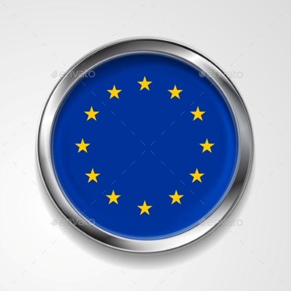 European Union Metal Button Flag - Backgrounds Decorative