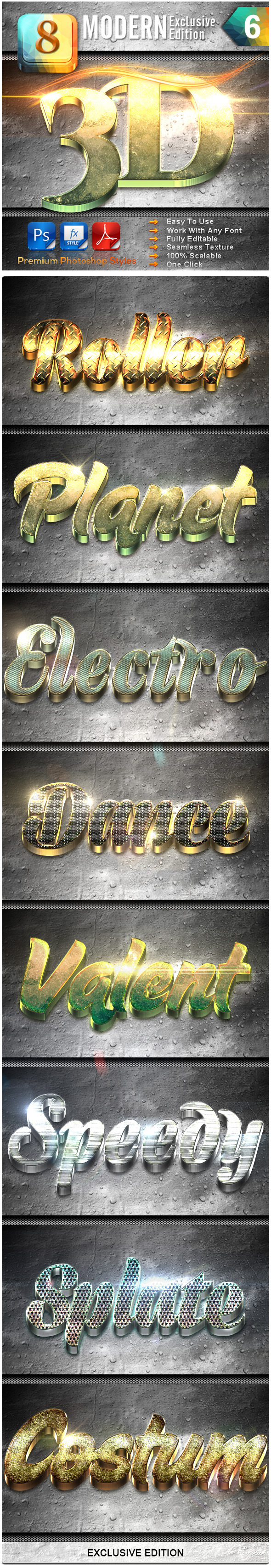 8 Modern 3D Exclusive Edition Vol.6 - Text Effects Styles