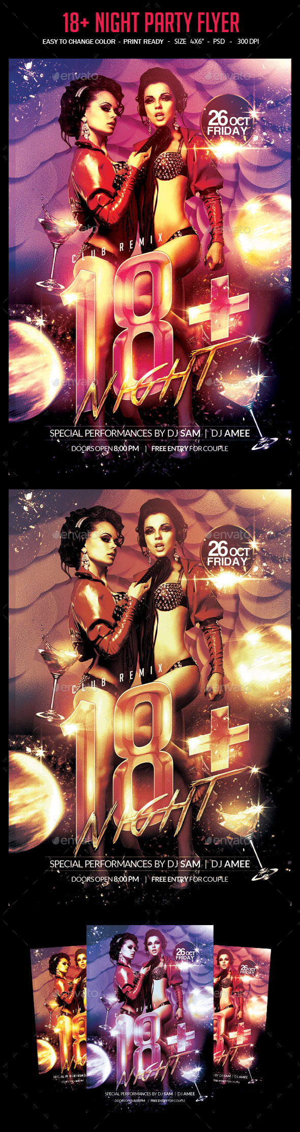 18+ Night Party Flyer  - Clubs & Parties Events