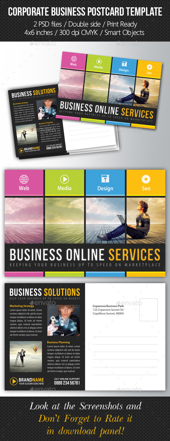 Corporate Business Postcard Template V01 - Cards & Invites Print Templates