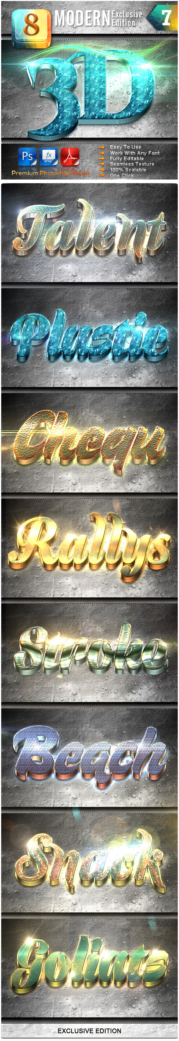 8 Modern 3D Exclusive Edition Vol.7 - Text Effects Styles