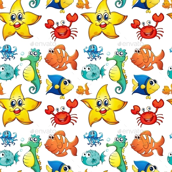 Seamless Design with Sea Creatures - Animals Characters