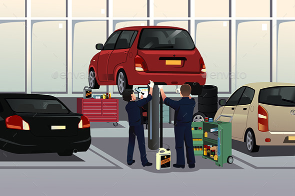 Auto Mechanic Fixing a Car Under the Hood - People Characters