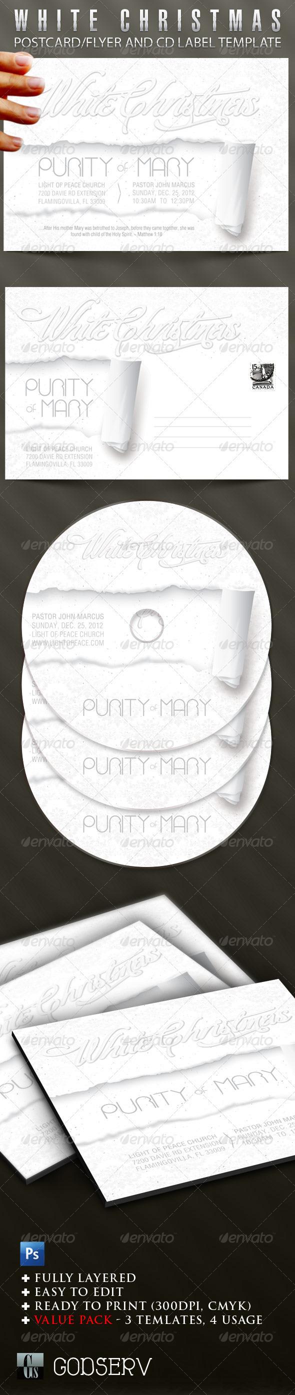 White Christmas Flyer CD Template - Church Flyers