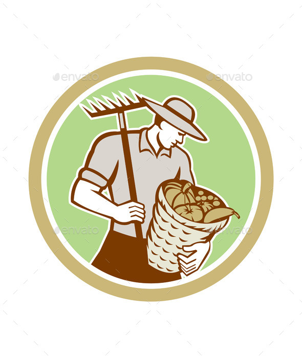 Organic Farmer Holding Rake Harvest Basket Retro - People Characters