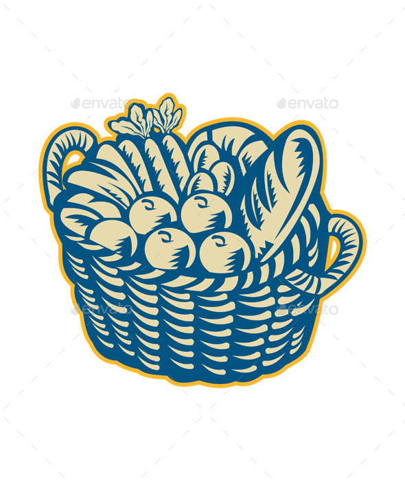 Crop Harvest Basket Retro - Food Objects