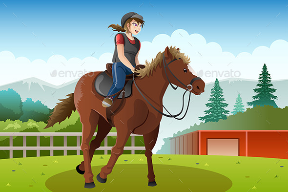 Little Girl Riding a Horse - Sports/Activity Conceptual