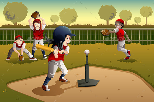 Kids Playing Tee Ball - Sports/Activity Conceptual