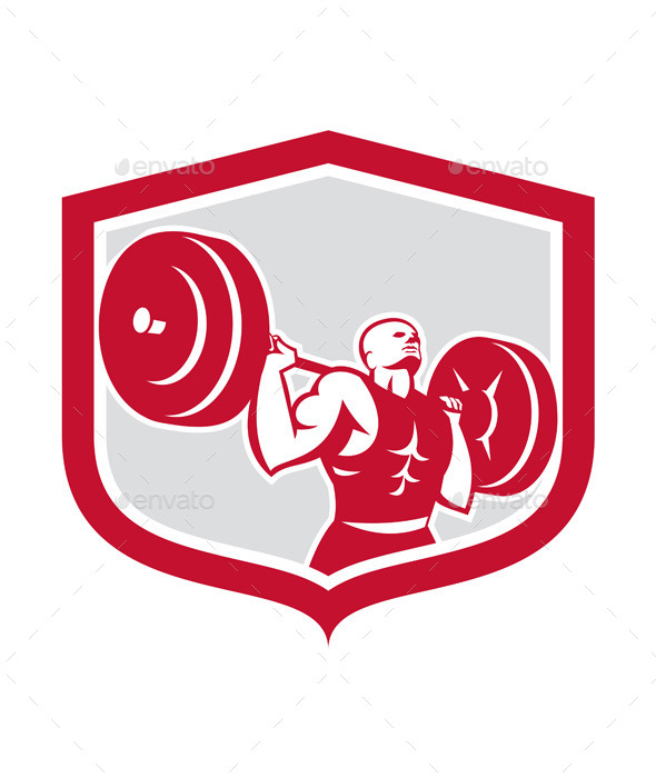Weightlifter Lifting Barbell Shield Retro - Sports/Activity Conceptual