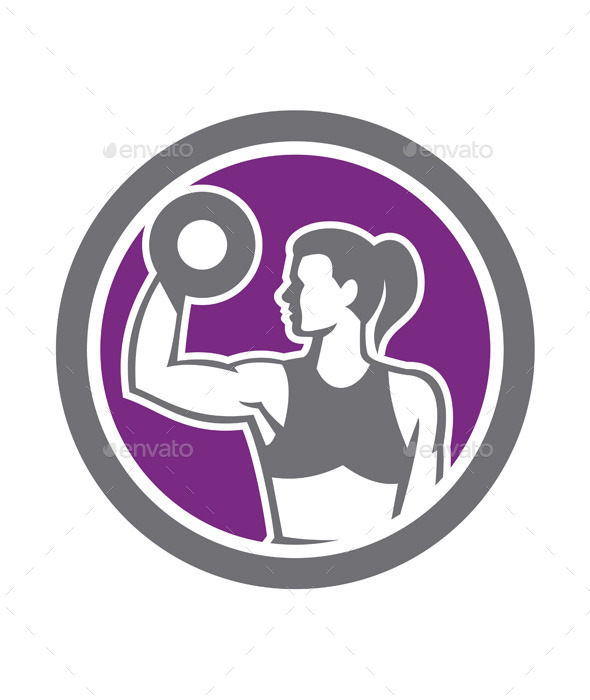 Woman Lifting Dumbbell Weight Retro - Sports/Activity Conceptual