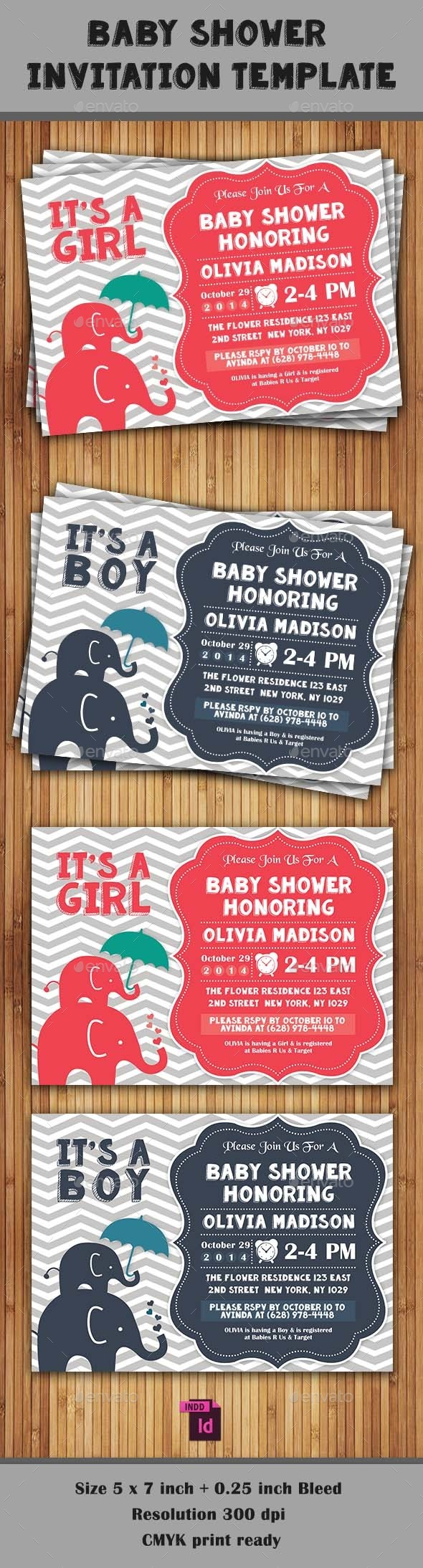 Baby Shower Template - Vol. 8 - Invitations Cards & Invites