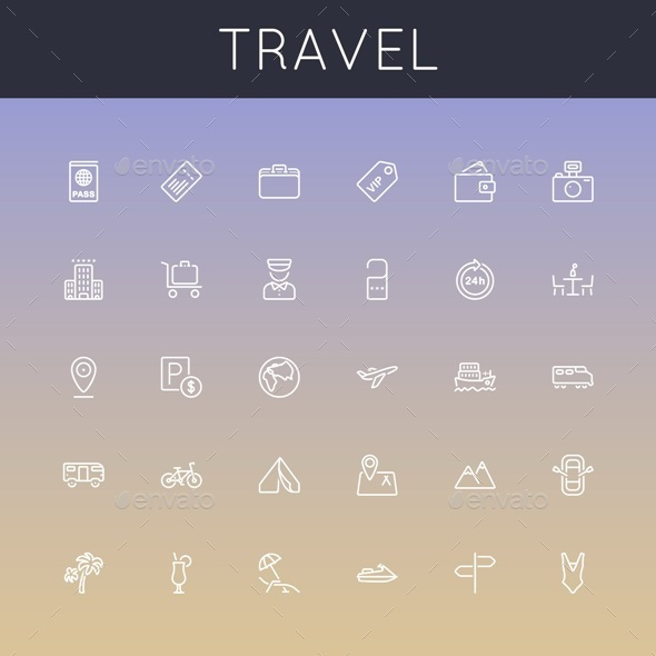 Vector Travel Line Icons - Business Icons