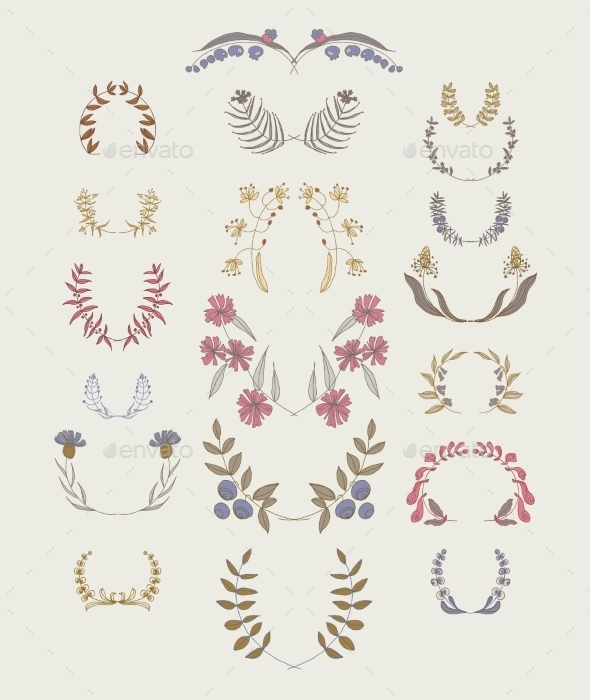 Set of Symmetrical Floral Graphic Design Elements - Flowers & Plants Nature