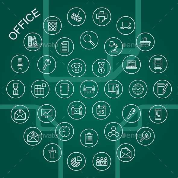 Vector Line Icons - Office - Business Icons