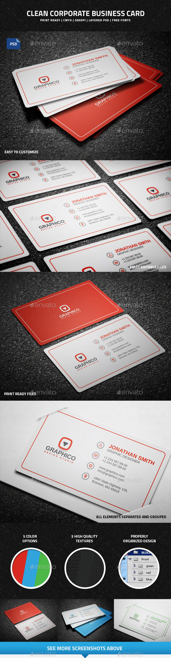 Clean Corporate Business Card - 48 - Corporate Business Cards