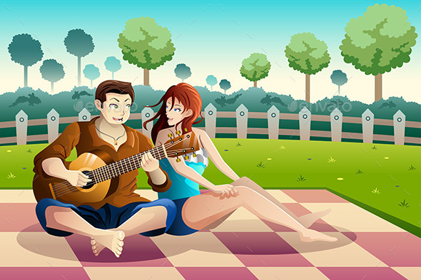 Couple Playing Guitar Together in a Park - People Characters