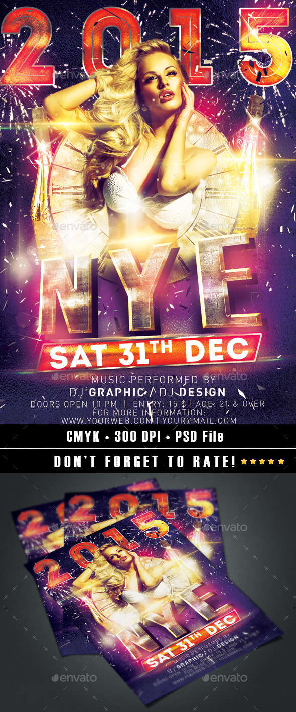 NYE/New Year's Eve 2015 Flyer template - Clubs & Parties Events