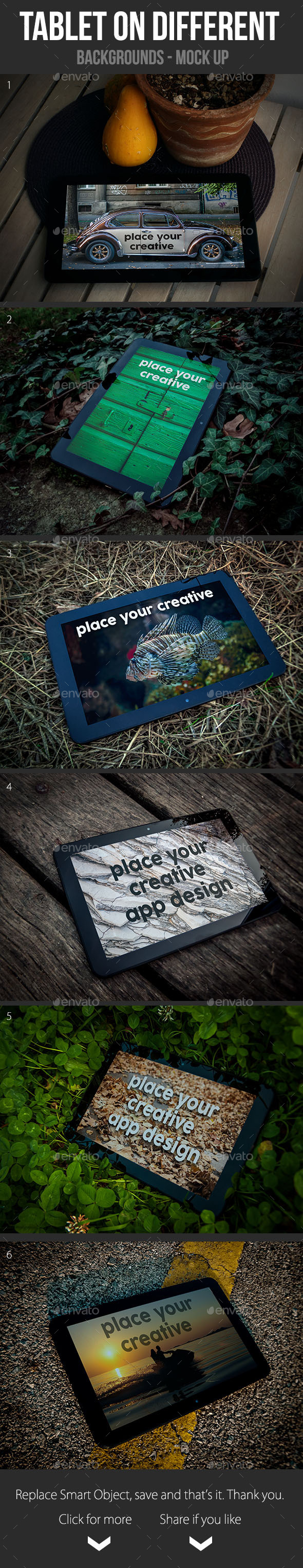 Tablet on Different Backgrounds Mock Up - Mobile Displays