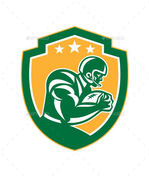 American Football Player Running Shield Retro - Sports/Activity Conceptual