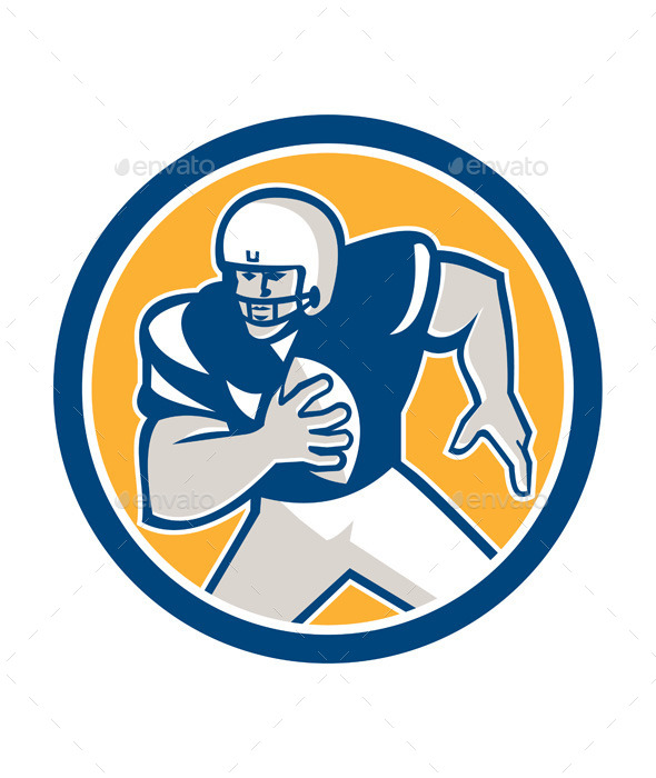 American Football QB Player Running Circle Retro	 - Sports/Activity Conceptual