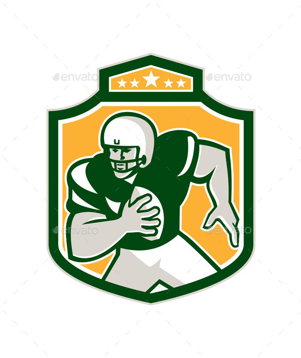 American Football QB Player Running Shield Retro - Sports/Activity Conceptual