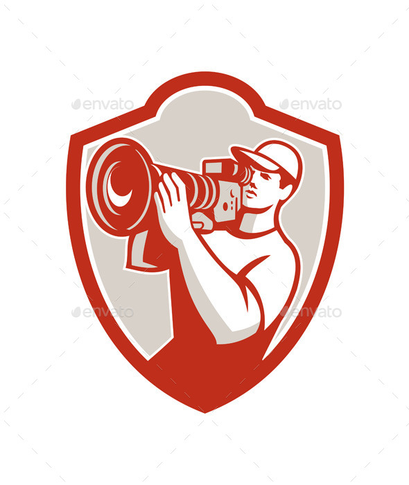 Cameraman Vintage Movie Camera Shield Retro - People Characters