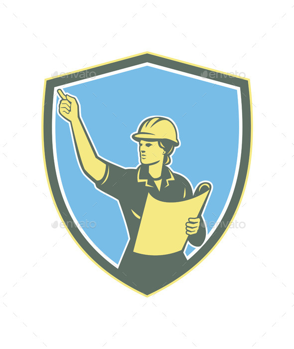 Female Construction Worker Engineer Shield Retro - People Characters
