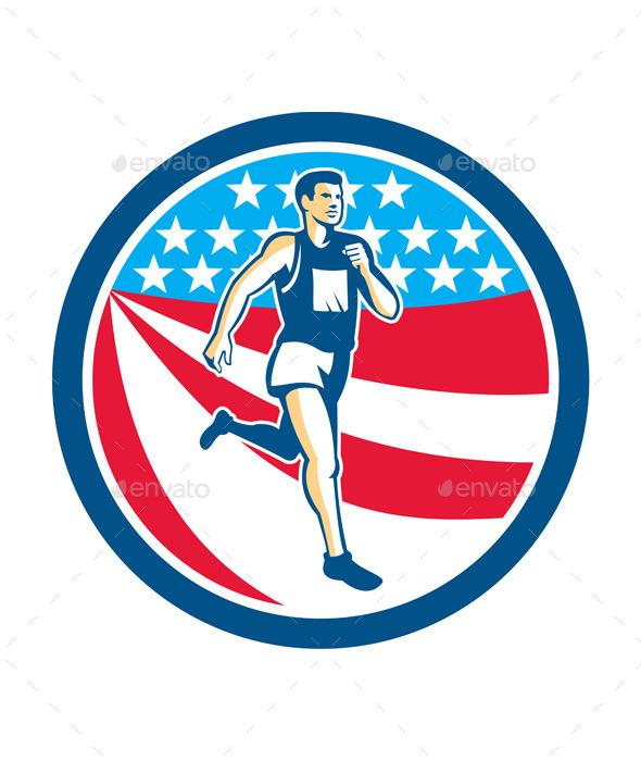 American Marathon Runner Running Circle Retro - Sports/Activity Conceptual