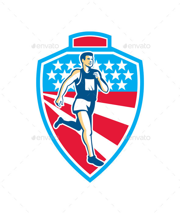 American Marathon Runner Running Shield Retro - Sports/Activity Conceptual