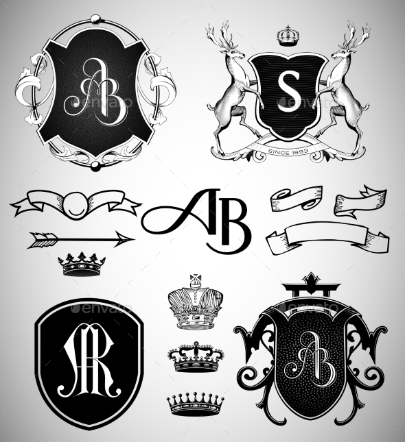 Vintage Crests, Ribbons, Monograms and Crowns - Decorative Symbols Decorative