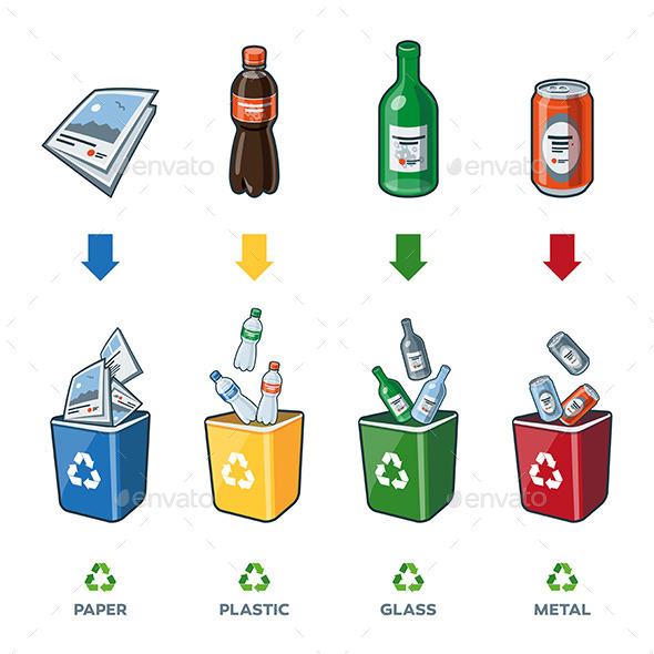 Recycling Bins for Paper Plastic Glass Metal Trash - Miscellaneous Characters