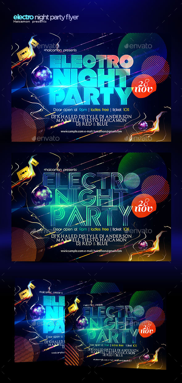 Electro Night Party Flyer - Flyers Print Templates