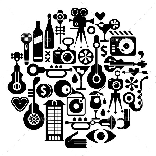 Music and Movie - Objects Vectors