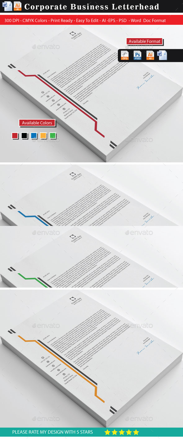 Graphic Bag Business Letterhead - Stationery Print Templates