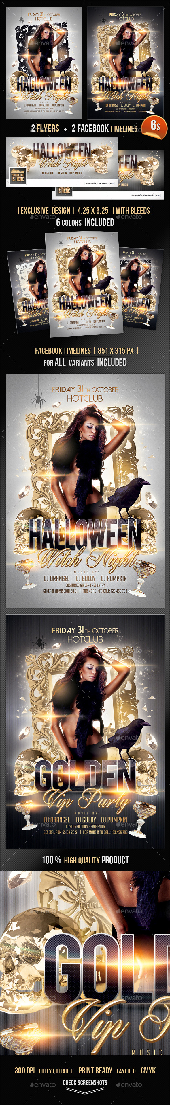 Halloween Witch Night Flyer + Fb Timeline