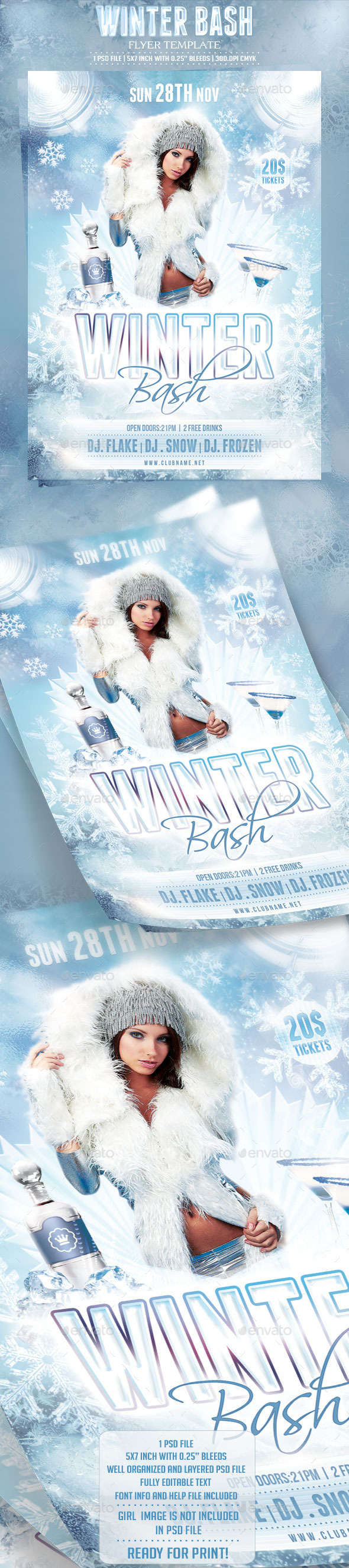 Winter Bash Flyer Template - Clubs & Parties Events