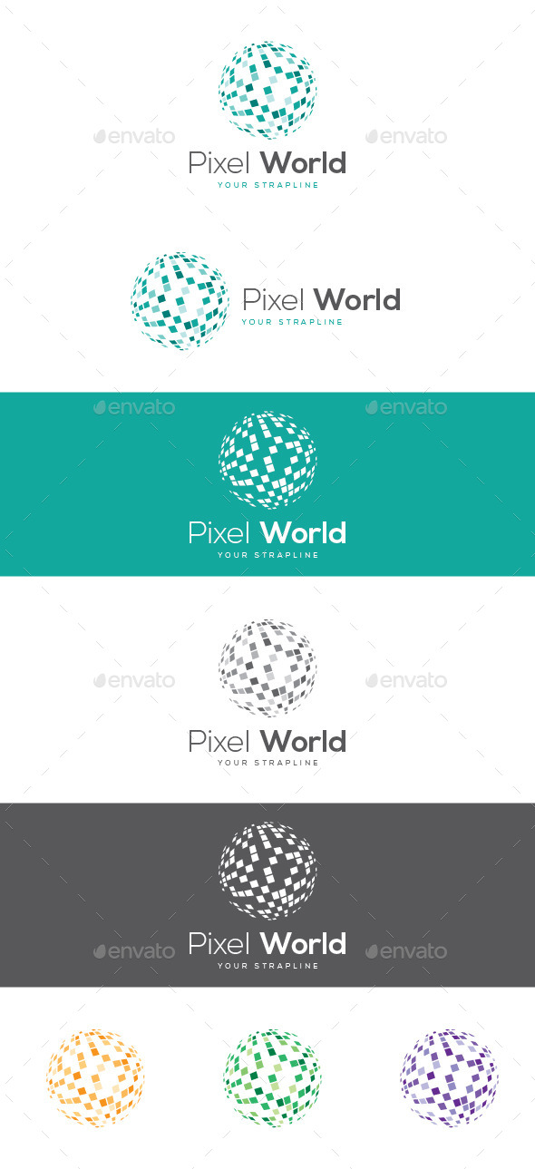 Pixel World Logo - 3d Abstract