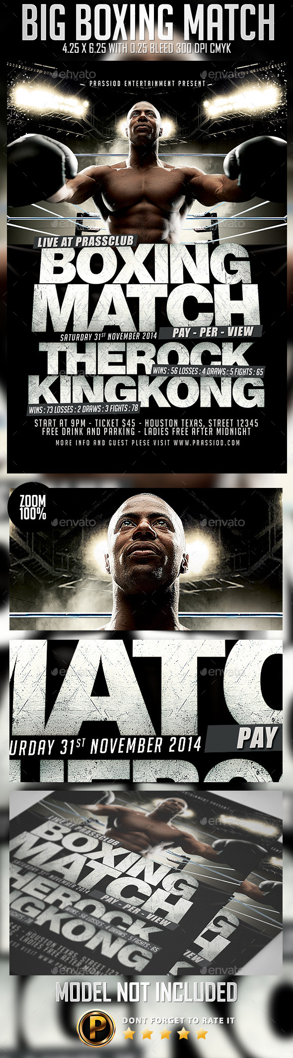 Big Boxing Match Flyer Template - Sports Events