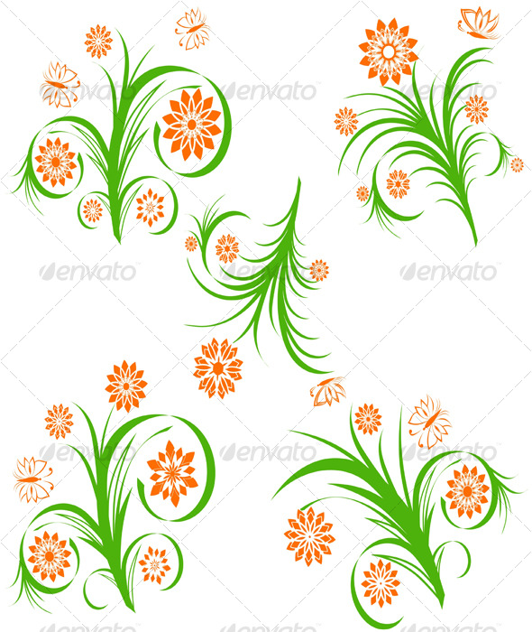 set floral ornaments  - Flourishes / Swirls Decorative