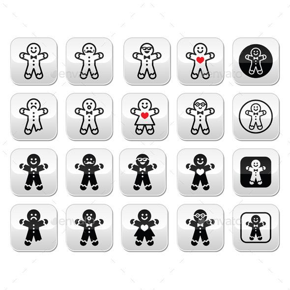 Gingerbread Man Christmas Buttons Set - Christmas Seasons/Holidays