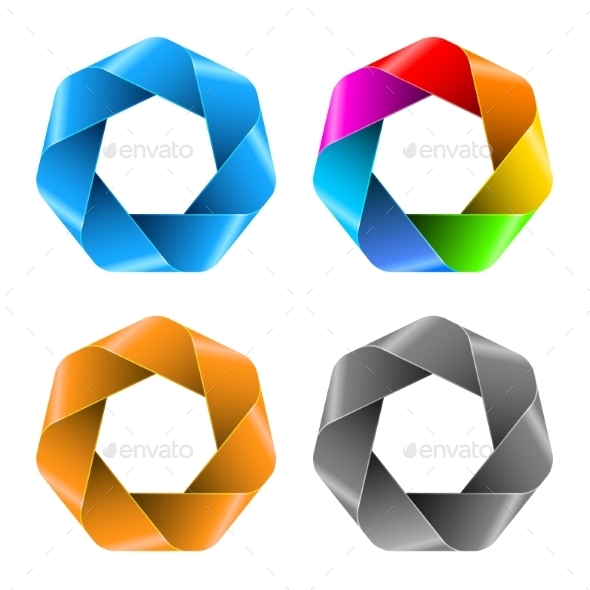 Set of Colorful Abstract Polygon Icons. - Miscellaneous Conceptual