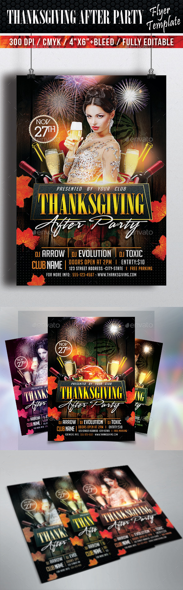 Thanksgiving After Party Flyer Template - Clubs & Parties Events