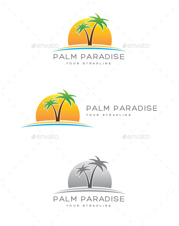 Palm Paradise Logo - Nature Logo Templates