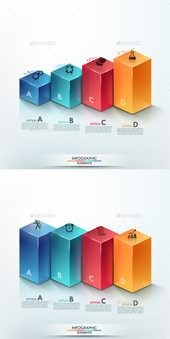 3d Modern Infographic Options Banner (2 Items) - Infographics
