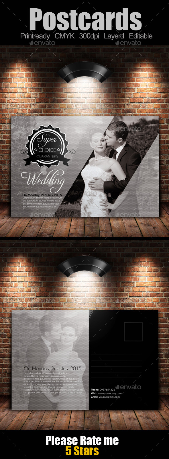 Wedding Invitation / Postcard - Cards & Invites Print Templates