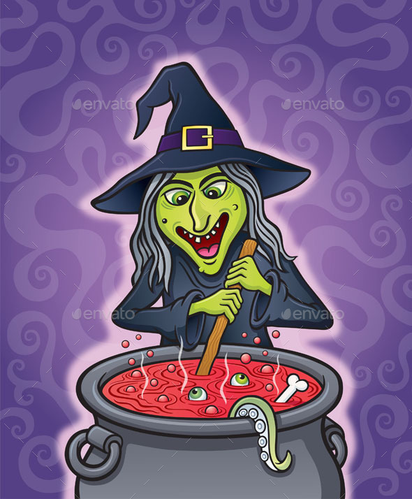 Wicked Witch Brewing in Cauldron - Halloween Seasons/Holidays