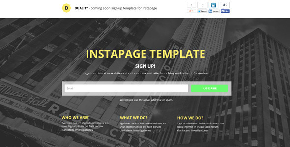Download Duality - Instapage Sign-Up Template nulled version