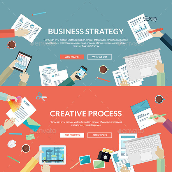Flat Concepts for Business and Creative Process - Business Conceptual