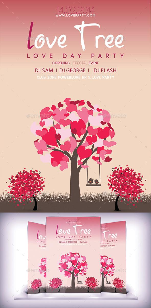 Love Tree Flyer - Flyers Print Templates